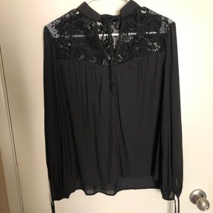 Forever 21 black long sleeve blouse
